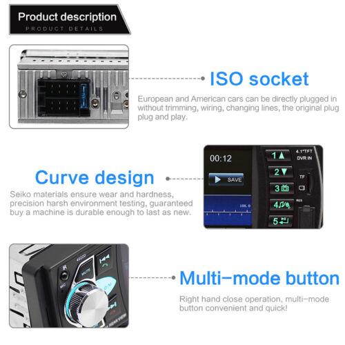 "4.1/"" Radio del Coche 1 DIN Bluetooth USB AUX-in SD MP3 MP5 Autoradio Estéreo ES"