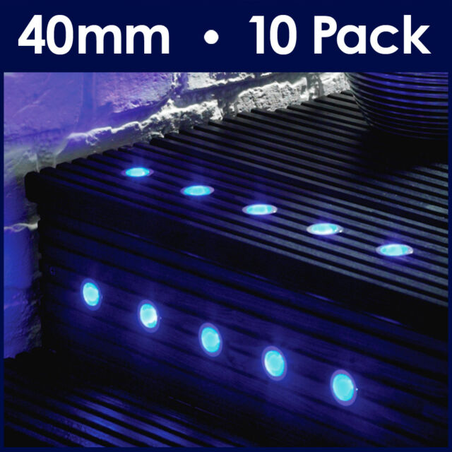 Pack of 10 - Blue 40mm LED Round Garden Decking Deck Plinth Lights Lighting Kit