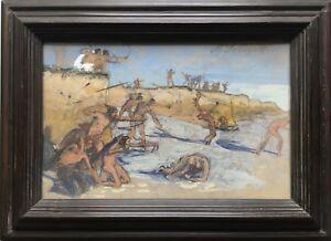 Max-MEN-1865-1920-fighting-Indians-Warrior-Indian-gouache-23-x-35