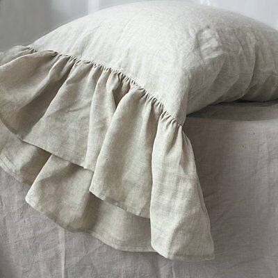 9.8 inch Fish Ruffled  Linen Pillowcase  100/% French Linen