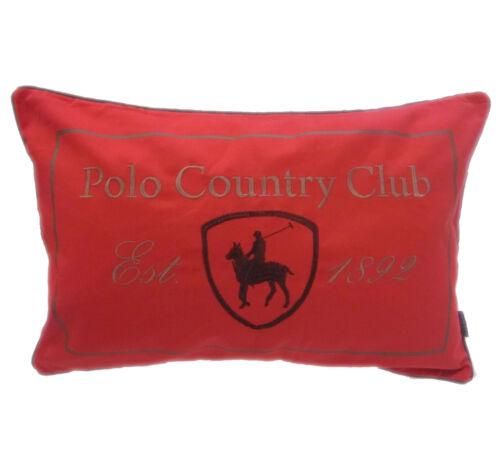 Qualität Polo Country Club 100/% Cotton Rot Bestickt Kissenbezug 40 X 60cm