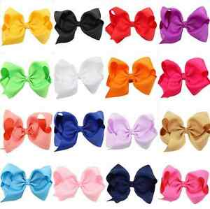 Colorful 11 Colors Big Hair Bows Boutique Girls Alligator Clip Grosgrain Ribbon Ebay