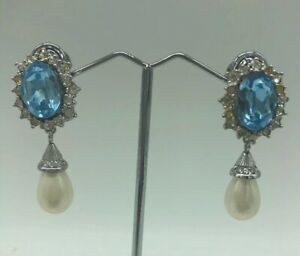 Vintage-Christian-Dior-Faux-Aquamarine-Pearl-Clip-Earrings-Drop-Crystal-Designer