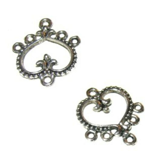 10 pieces 18x21mm tibetan silver heart 5 trou alliage connecteur-A0430