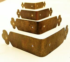 Set 4 Brass Corner Guard Antique Trunk Treasure Chest Salvage Furniture Piece Ebay
