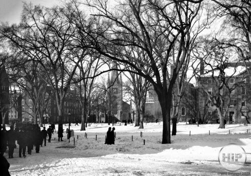 Harvard First Parish Church and Dormitories in Winter in Cambridge MA 1915