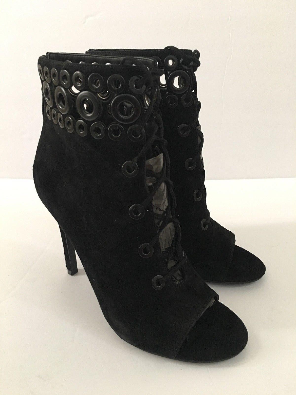 199 Kendall & Kylie Womens Giada Peep Toe Black Suede High Heel Bootie 7.5 M