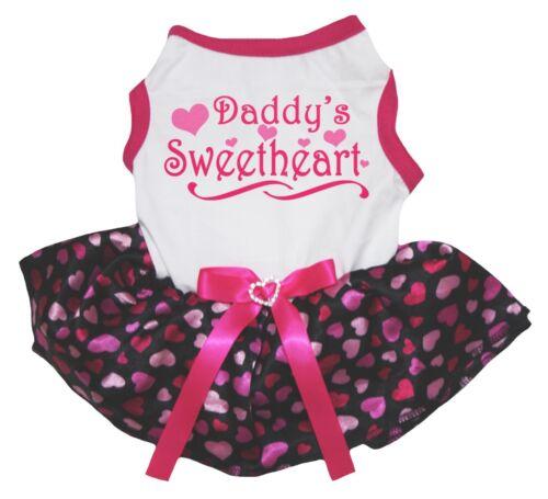 Valentine Daddy/'s Sweetheart White Top Black Pink Heart Tutu Pet Dog Puppy Dress