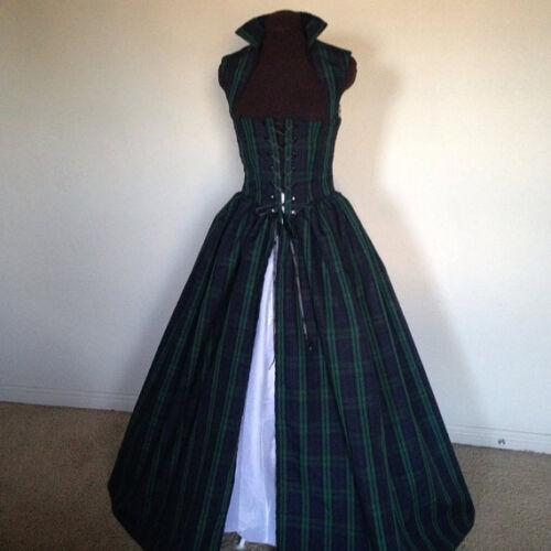BLACKWATCH Plaid Irish Scottish Renaissance Dress Gown  made to fit you!