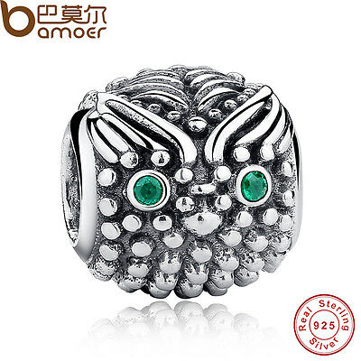 Authentic S925 Sterling Silver Charms With Green Eyes Owl Fitting Snake Bracelet