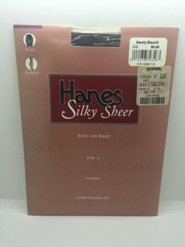 Hanes Silky Sheer Shaper Sandalfoot Pantyhose Barely Black Size Cd