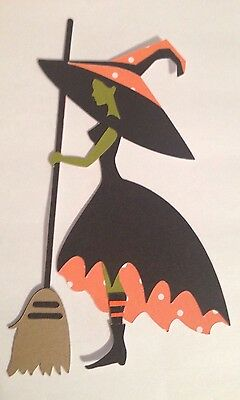 "5"" Halloween Witch Cricut Die Cut Handmade Paper Piecing made with card stock"