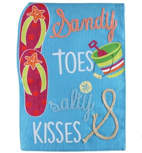 "Sandy Toes /&  Salty Kisses Beach Burlap Garden Flag 12.5/"" X 18/"" Premium Quality!"
