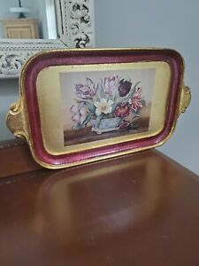 Handpainted Sezzantini Firenze Wooden Box Made in Italy Tulip Decor