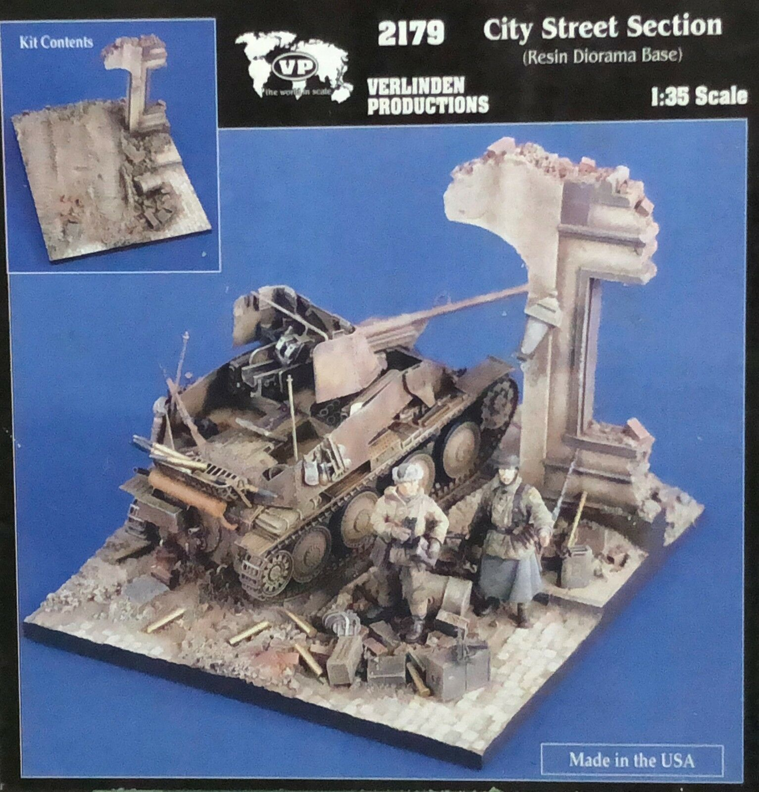 1 35 city street section resin diorama base verlinden 2179. new
