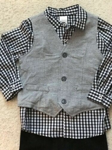 Sweater//Vest NEW Wonder Nation Toddler Boys 3-Pc Shirt and Twill Pants