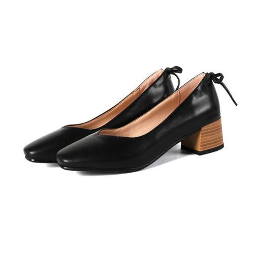 Elegant Womens Block Mid Heels Square Toe Pumps Slip On Casual Plus Size Shoes