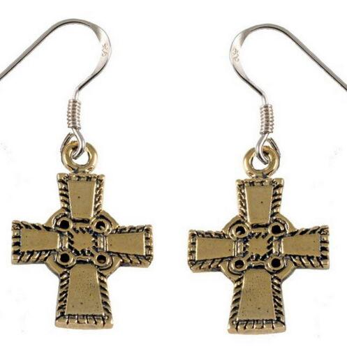 Wikinger Kreuz Ohrhänger aus Bronze nach Fund Blekkinge Anhänger gearbeitet