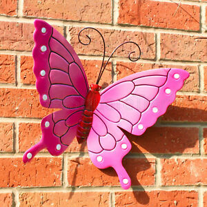 Image Is Loading BUTTERFLY OUTDOOR EXT LRG NEW PINK METAL BUTTERFLIES