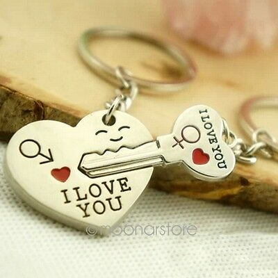 Romantic Keychain Keyring Keyfob Valentine's Day Lover Couple Gift Heart Key