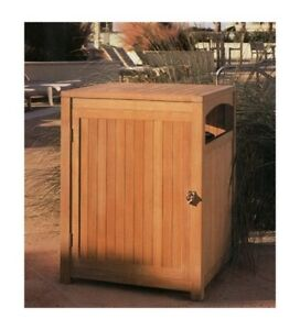 Grade-A Teak Wood Waste Trash Can Box Utility Receptacle Outdoor Garden Furnitur