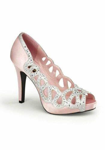 4 1//2 Inch Heel Peep Toe Pump With Rhinestone Cut Out Trim Pinup Couture AVA-12