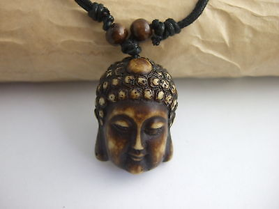Buddha Summer Boho Ethnic Pendant Necklace Waxed Cotton Cord