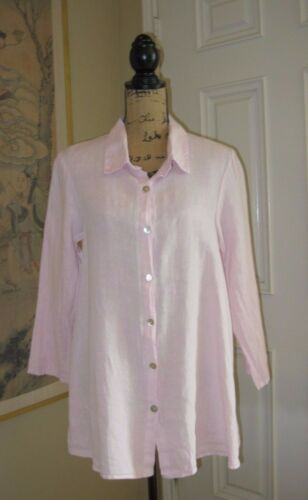 ET'LOIS USA Light Pink OPRAH Linen Button Down Top