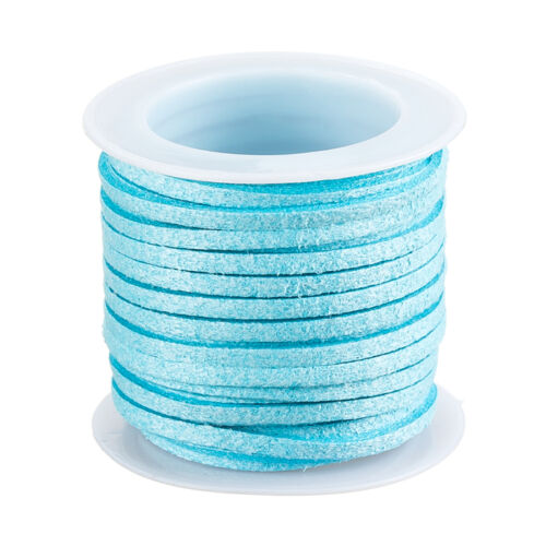 Faux Suede Lace Flat Cord 5 Metre Reel Turquoise Blue Thread 3x1.5mm F73