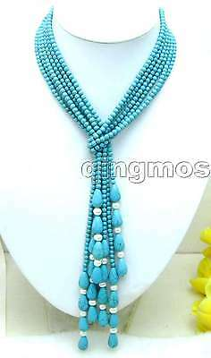 "SALE LONG 45"" NOBLEST 4mm Round light blue TURQUOISE 3 STRANDS NECKLACE-nec5739"
