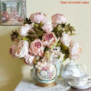 13-capi-vintage-Artificiali-PEONIA-Seta-Fiori-dahila-Rosa-Mazzo-Rose-amp-A0S3