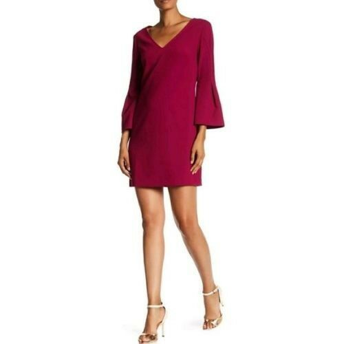 278 Trina Turk Heiress Bell Sleeve Crepe Shift Dress Size 2 New