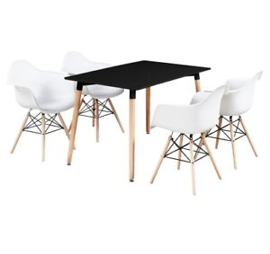 Moda Baignoire Dallas Ensemble Salle à Manger - 4 X Moda Eiffel Baignoire Chaises Et Table De Salle à Manger Noire Nouveau-afficher Le Titre D'origine
