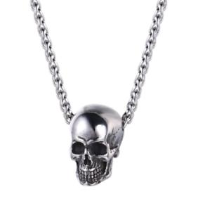 Acero Inoxidable Plata y Oro Collar De Gema cráneo calidad Joyas para hombre A789
