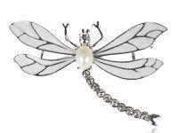 Enamel Wing Czech Crystal Rhinestone Faux Pearl Dragonfly Fashion Pin Brooch