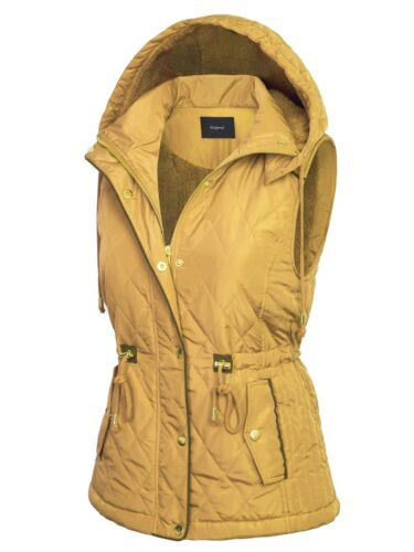 KOGMO Womens Fur Lined Lightweight Zip Up Quilted Vest with Detachable Hood
