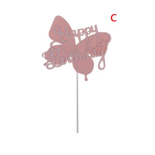 Biling Colorful Laser Butterfly Happy Birthday Cake Topper for Dessert GiftsPLUS