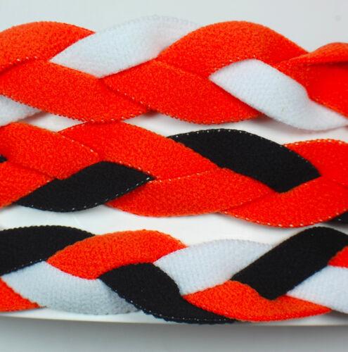 3 PACK MINI BRAIDED HEADBANDS HAIR BAND Orange White Black Neon Hot Cincinnati