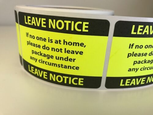 250 Neon Yellow Leave Notice Stickers Labels 2 X 3 Fluorescent NEW
