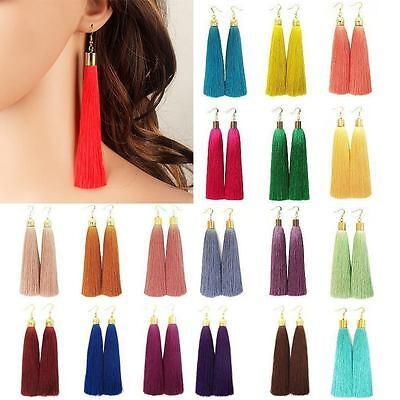 Hot 1 Pair Women New Bohemian Style Long Tassel Dangle Fringe Hook Earrings Gift