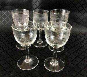 Vintage-Sherry-Glasses-Stem-Glass-Set-Etched-Greek-Key-Mid-Century-Modern
