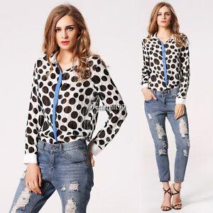 Women-Lapel-Button-Down-Dot-Long-Sleeve-Chiffon-Sheer-Blouse-Shirt-Tops-BF9