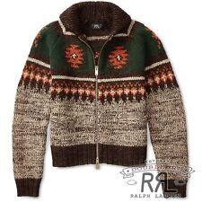RRL Ralph Lauren Hand Knit Jacquard Wool Cotton Cardigan Sweater-MEN- L