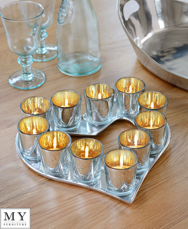 Heart Shape Candle Holder with Set of 11 Tealight Votives - My-Furniture