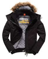 New Mens Superdry Microfibre Fur Hooded Windbomber Jacket Black