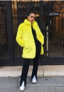 c279ca42 BNWT ZARA YELLOW FAUX FUR JACKET COAT SIZE SMALL UK 8 10 RRP £99.99 ...