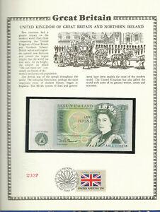 Great Britain 1 Pound 1978-84 P 377b UNC w/FDI UN FLAG STAMP Prefix AN11
