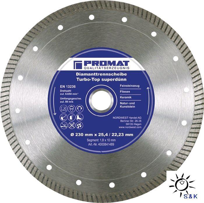 PROMAT Diamanttrennscheibe Turbo-Top für Winkelschleifer Durchmesser 115-350mm
