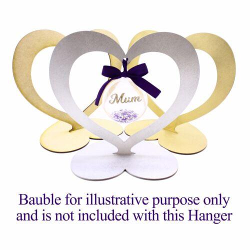 Gold Silver or Natural finish 3mm MDF Heart Hanger Display 6cm 8cm 10cm baubles
