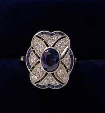 Antique Art Deco Sapphire and Diamond Panel Ring in 18ct White Gold - Size L